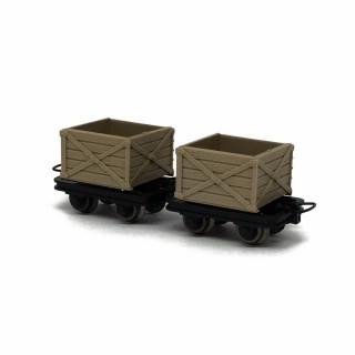 2 wagonnets de mine  -HOe-1/87-ROCO 34603