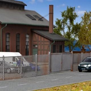 Set de 2.80ml de clôture grillagée avec portails et portillons -HO-1/87-KIBRI 38605