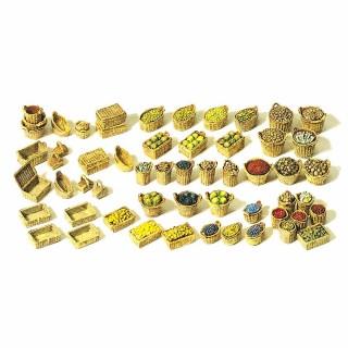 Set de 60 paniers et caisses avec chargements indépendants HO-1/87-PREISER 17502