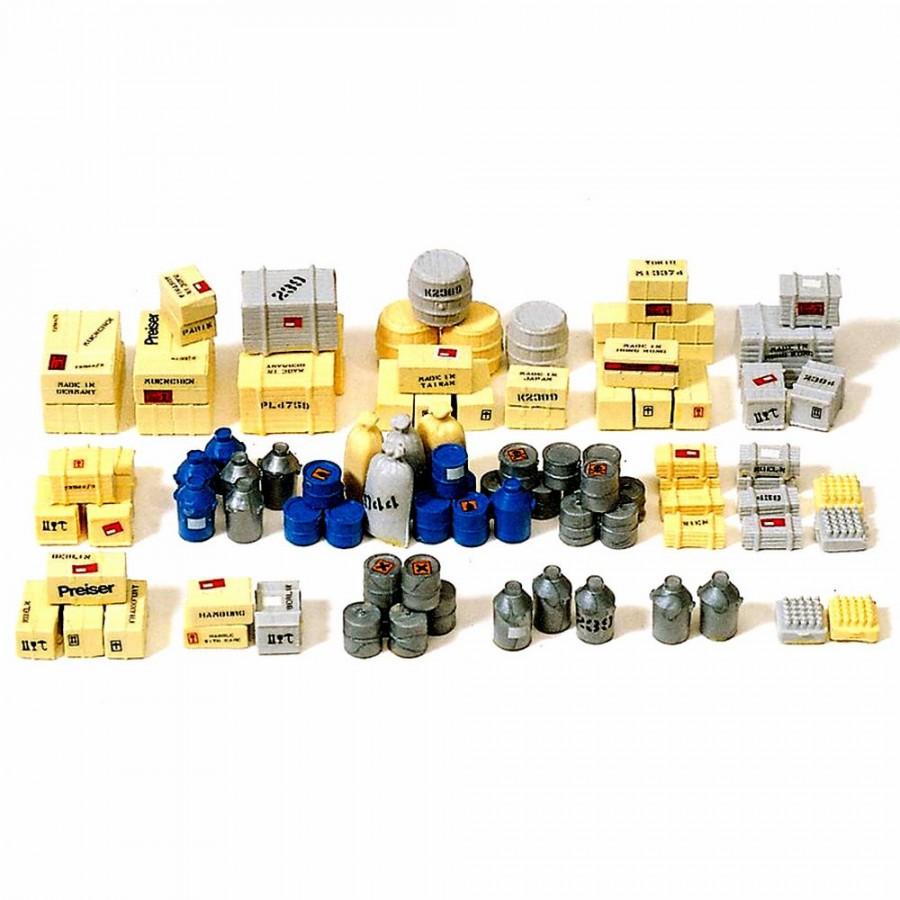 Set de 90 caisses, sacs et fûts à peindre  HO-1/87-PREISER 17100