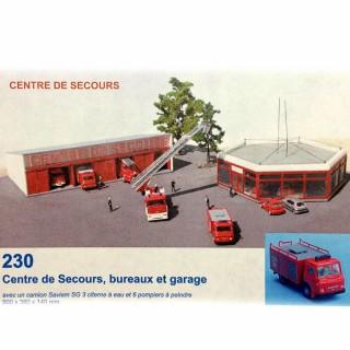 Centre de secours Pompiers avec un camion et 6 pompiers inclus -HO-1/87-SAI 230