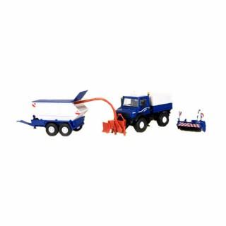 Camion Unimog avec broyeur et brosse de nettoyage -HO-1/87-KIBRI 14984