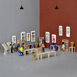 Set d'aménagement de bureau mobilier -HO-1/87-KIBRI 38655
