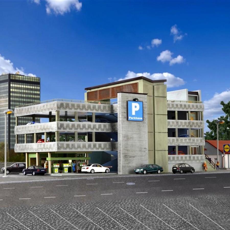 Grand parking sur étage maquette à monter -HO-1/87-VOLLMER 43804