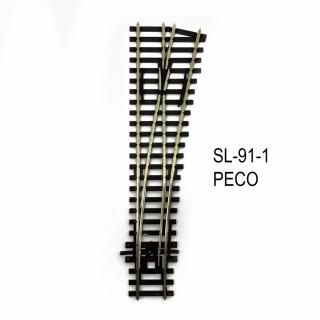 Rail Streamline aiguillage droit droit 185mm R 610mm code 100-HO-1/87-PECO SL-91