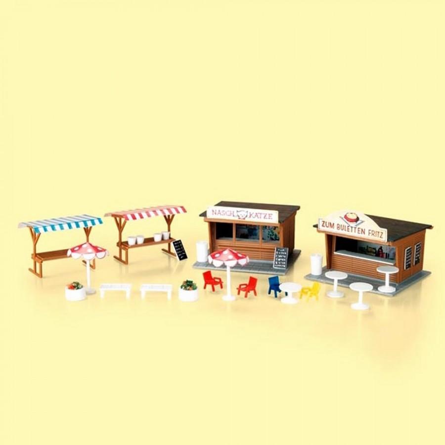 2 stands de snack avec bancs, tables et chaises-HO (e)-1/87-AUHAGEN 11352