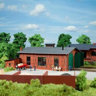 Remise pour 2 locomotives en briques et colombages-N-1/160-AUHAGEN  14470