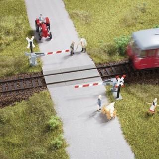 Passage à niveau simple une voie manuel demi barrières- ho-1/87-AUHAGEN 41625