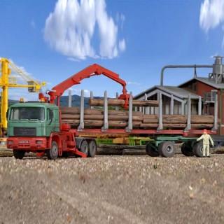 Camion Man grumier avec bois maquette à monter -HO-1/87-KIBRI 12271