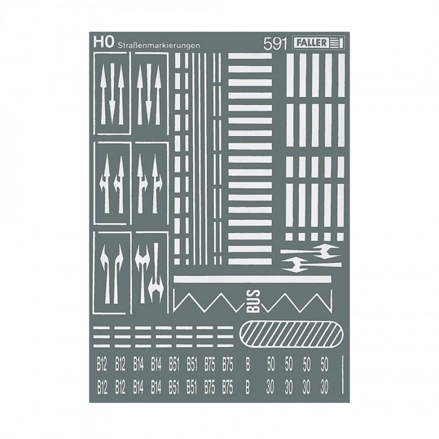Signalisation horizontale pour route décalcomanies-HO-1/87-FALLER 180536