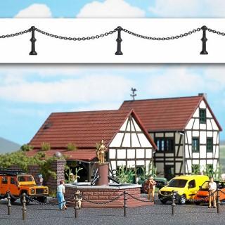 Séparation de place public poteau avec chaine-HO-1/87-BUSCH 1023