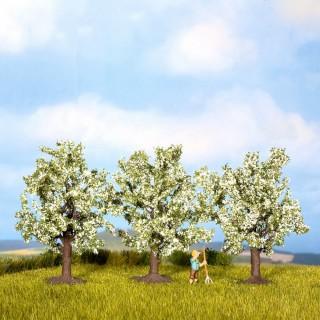 3 arbres fruitiers en fleurs blanches- toutes échelles-NOCH 25511