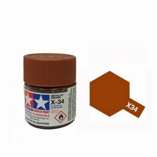 Brun Métal brillant pot de 10ml-TAMIYA X34