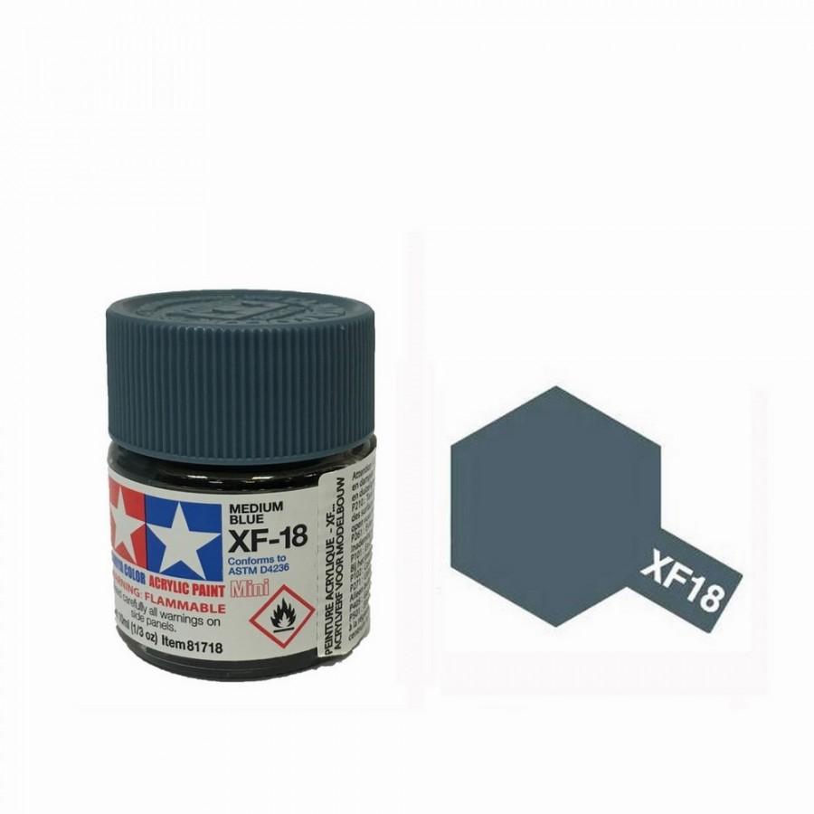 Bleu Moyen mat pot de 10ml-TAMIYA XF18