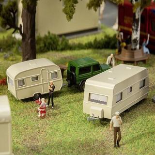 2 caravanes maquette à monter-HO-1/87-FALLER 140483