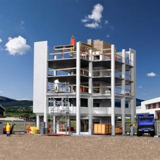 Immeuble en construction + accessoires chantier -HO-1/87-KIBRI 38537