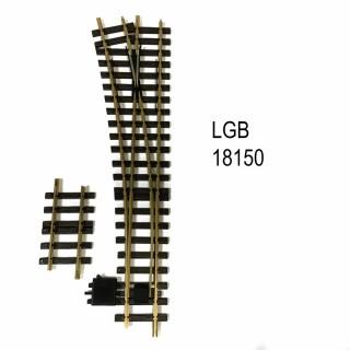 Aiguillage droit gauche manuel R5 à 15 degrés train de jardin -G-1/28-LGB 18150