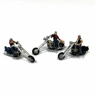 3 motards chopper pour votre diorama -HO-1/87-WOODLAND SCENICS AS5554