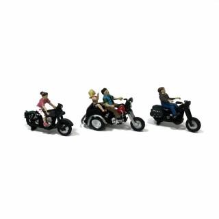 3 motards type Américain pour diorama -HO-1/87-WOODLAND SCENICS AS5549