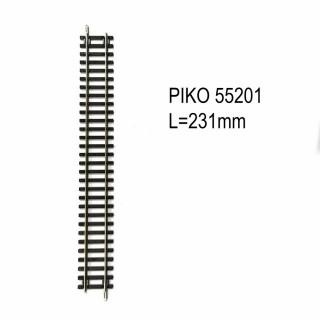 Rail droite 231mm G231 code 100 -HO-1/87-PIKO 55201