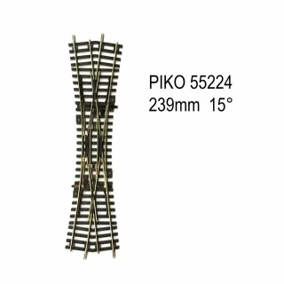 Rail traverse de jonction double 239mm  15 degrés code 100 -HO-1/87-PIKO 55224