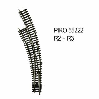 Rail aiguillage courbe gauche R2 et R3 code 100 -HO-1/87-PIKO 55222