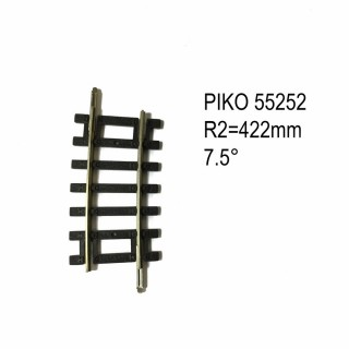 Rail courbe R2  422mm  7.5 degres code 100 -HO-1/87-PIKO 55252