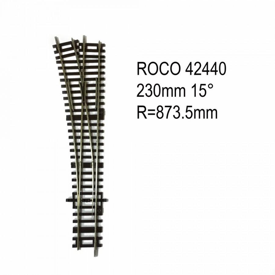Rail aiguillage droit gauche 230mm 15 degrés code 83 -HO-1/87-ROCO 42440
