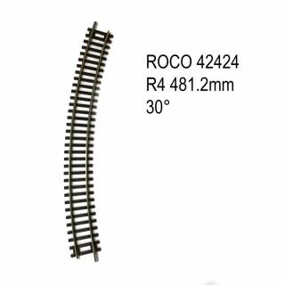 Rail courbe R4 481.2mm 30 degrés code 83 -HO-1/87-ROCO 42424