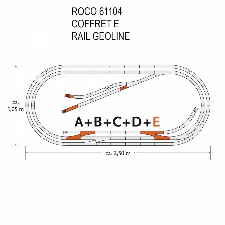 Coffret de rails Geoline E -HO-1/87-ROCO 61104
