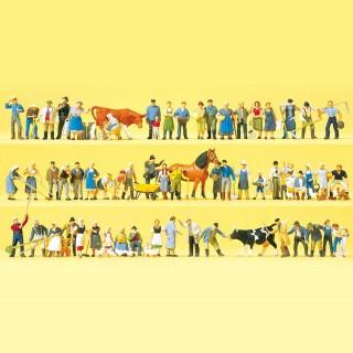 60 figurines de ferme avec animaux et accessoires HO-1/87-PREISER 13001
