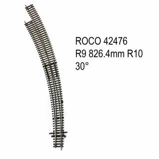 Rail aiguillage courbe gauche R9 R10 30 degrés code 83 -HO-1/87-ROCO 42476