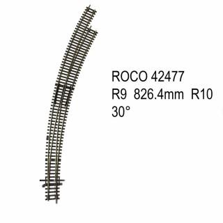 Rail aiguillage courbe droit R9 R10 30 degrés code 83 -HO-1/87-ROCO 42477
