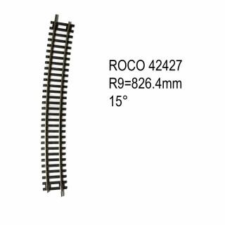 Rail courbe R9 826.4mm 15 degrés code 83 -HO-1/87-ROCO 42427