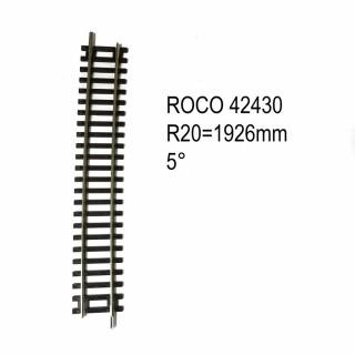 Rail courbe R20 1962mm 5 degrés code 83 -HO-1/87-ROCO 42430