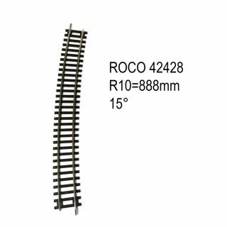 Rail courbe R10 888mm 15 degrés code 83 -HO-1/87-ROCO 42428