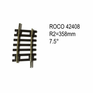 Rail courbe R2 358mm 7.5 degrés code 83 -HO-1/87-ROCO 42408