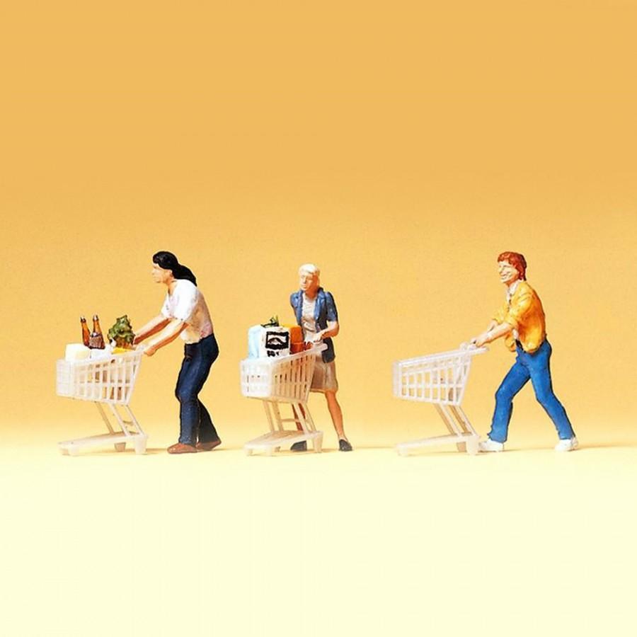 3 figurines faisant les courses avec chariots HO-1/87-PREISER 10488