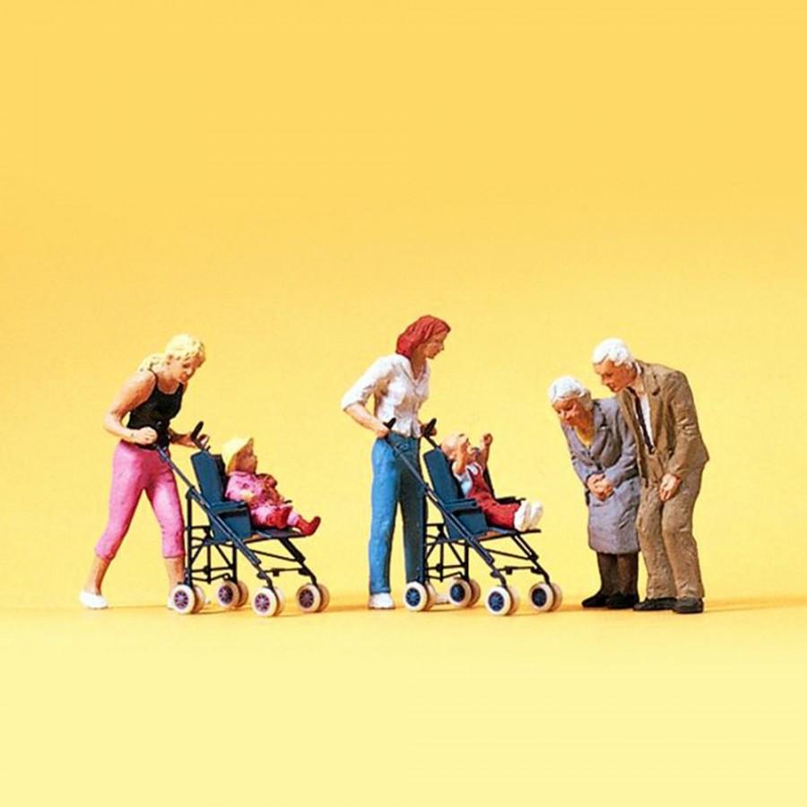 Mères avec enfants en poussette et grand parents HO-1/87-PREISER 10493