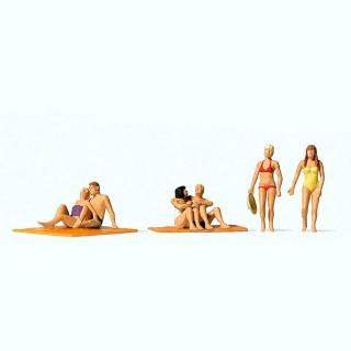 6 figurines à la plage avec 2 serviettes HO-1/87-PREISER 10671