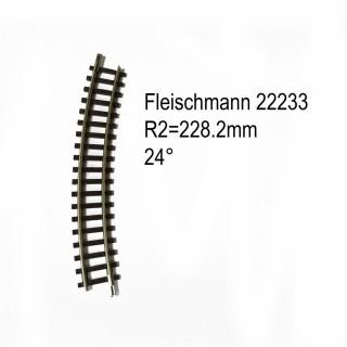 Rail courbe R2  228.2mm 24 degrés-N-1/160-FLEISCHMANN 22233