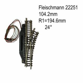Rail aiguillage droit droit électrique 104.2mm-N-1/160-FLEISCHMANN 22251