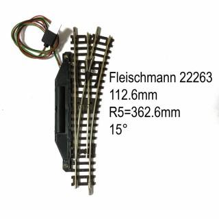 Rail aiguillage droit droit électrique 112.6mm-N-1/160-FLEISCHMANN 22263