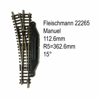 Rail aiguillage droit gauche manuel 112.6mm-N-1/160-FLEISCHMANN 22265