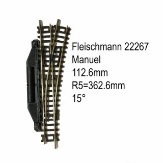 Rail aiguillage droit droit manuel 112.6mm-N-1/160-FLEISCHMANN 22267