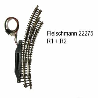 Rail aiguillage courbe droit électrique R1 et R2-N-1/160-FLEISCHMANN 22275