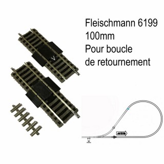 2 rails coupure 100mm pour boucle de retournement -HO-1/87-FLEISCHMANN 6199