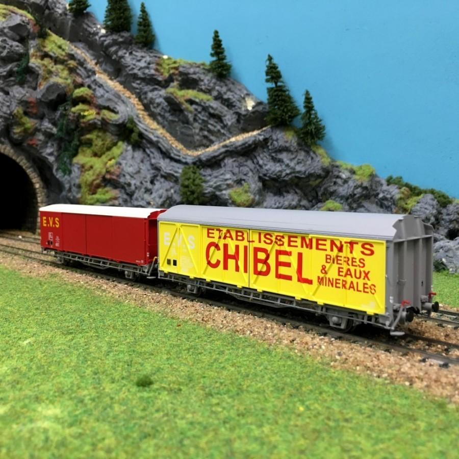 2 wagons EVS Hs toit haut/bas Chibel Sncf épIV-HO-1/87-LSMODELS 30669