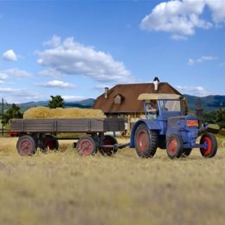 Tracteur Lanz avec remorque plateau à ridelles-HO-1/87-KIBRI 12232