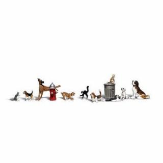 10 chiens et chats avec accessoires -HO-1/87-WOODLAND SCENICS A1841
